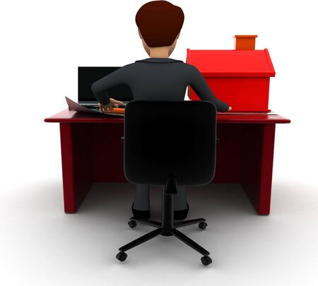 3d man making home plan on laptop with small model of house on talbe concept on white background, back angle view
