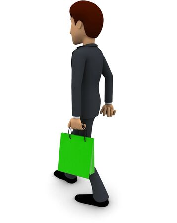 3d man with green shopping concept on white background,  back angle view