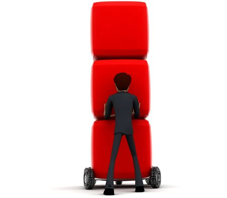 3d man draw red boxes with wheel concept on white background - 3d rendering , back angle view
