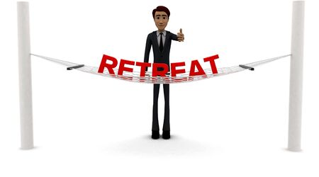 3d man standing waving hand and RETREAT text on weaver concept on white background - 3d rendering , front angle view Banco de Imagens