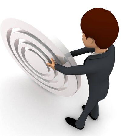 3d man rolling white target board concept on white background, back top angle view
