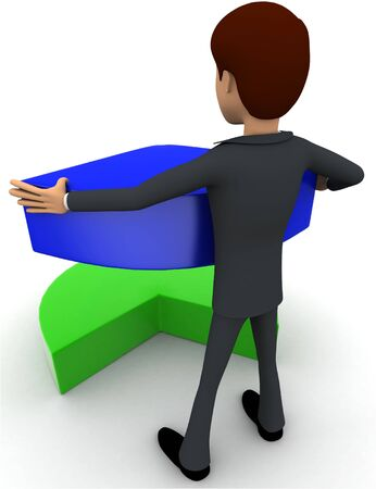 3d man holding small blue part of pie graph concept on white background, back angle view