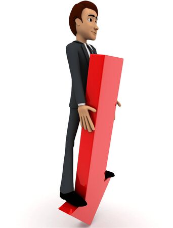 3d man standing on falling graph arrow concept on white background, side angle view Stockfoto