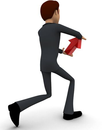 3d man holding red arrow in hand concept on white bakcground, back angle view Stockfoto