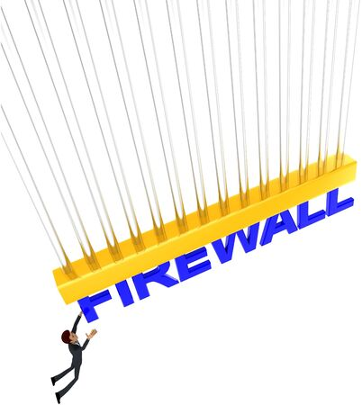 3d man about to grab FIREWALL text concept on white background - 3d rendering , top angle view