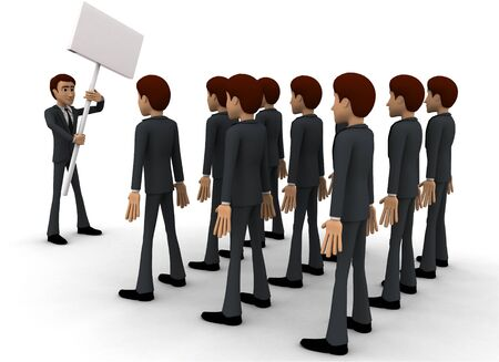 3d man on strike concept on white background, back angle view