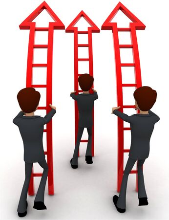 3d men ready climb up arrow stairs concept on white background, back angle view