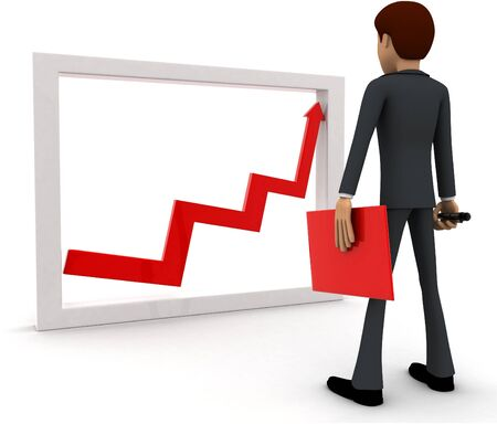 3d man looking at growth graph and with tools concept on white background, back angle view
