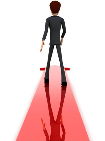 3d man walking through arrow concept on white isolated background - 3d rendering , back angle view Stockfoto
