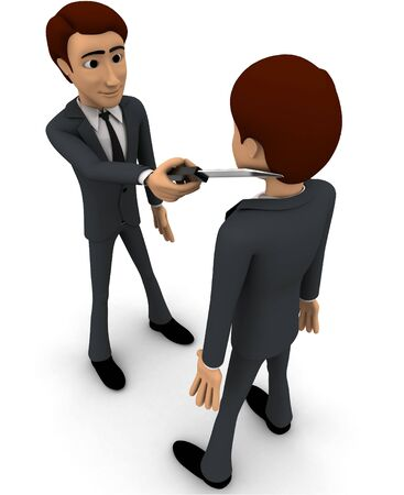 3d man put knife on another mans neck concept on white background, top angle view