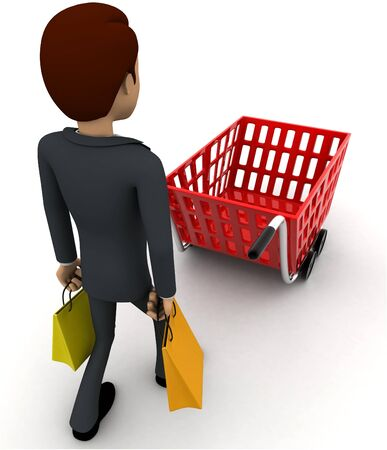 3d man with shopping cart concept on white background,  back    angle view