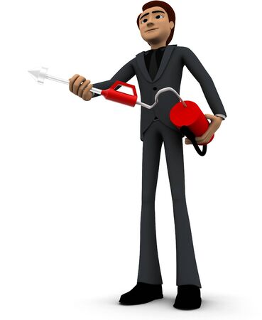 3d man with fire extinguish concept on white background, low  angle view Stockfoto