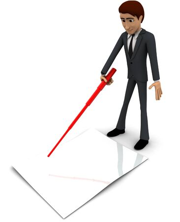 3d man pointing on paper using stick concept on white background, frontangle view