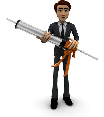 3d man big injection concept on white background, front angle view