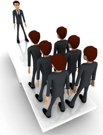3d business man standing on seasaw to create balance concept on white background, top angle view