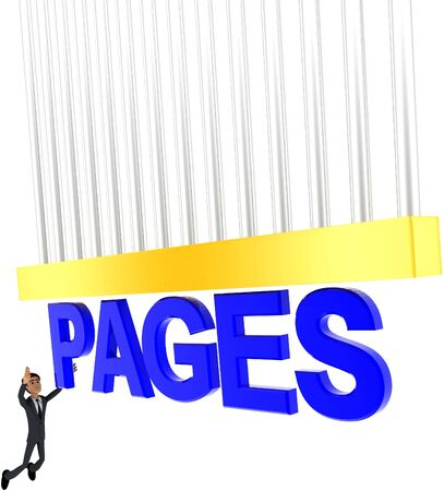 3d man about to grab PAGES text concept on white background - 3d rendering , side angle view Stock Photo
