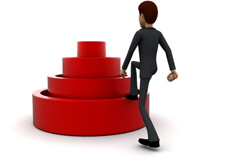 3d man stepping into elavated target step concept in white isolated background 3d - rendering , back angle view Stockfoto