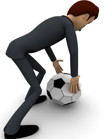 3d man pick up football concept on white background, back angle view
