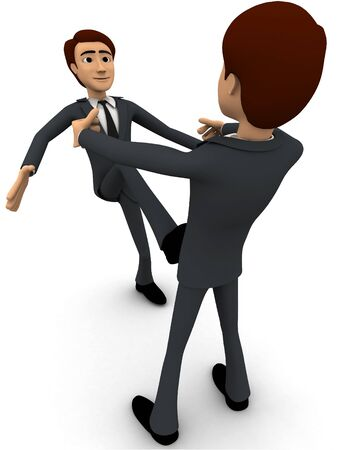 3d one man is kicking another man concept on white background, front angle view