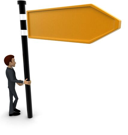 3d man with yellow sign board concept on white background, back angle view