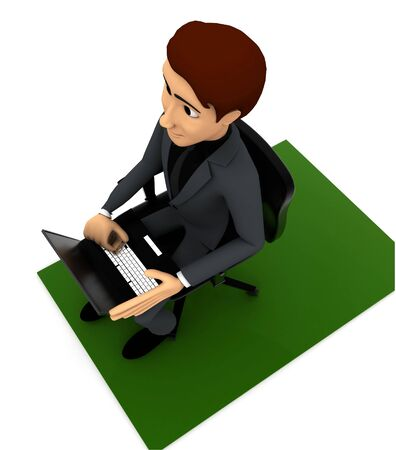 3d man put laptop on chair on white background, top angle view 版權商用圖片