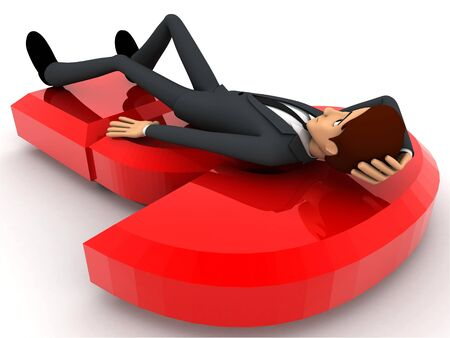 3d man lying on red question mark concept on white background back angle view
