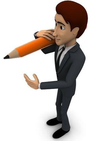3d man holding pencil on shoulder concept on white background, side angle view