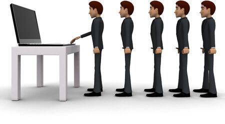 3d man in queue and working on laptop concept on white background, side angle view Stockfoto