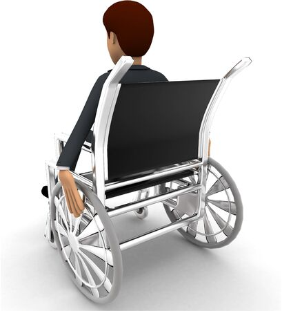 3d man on wheel chair concept on white background, back angle view Stockfoto