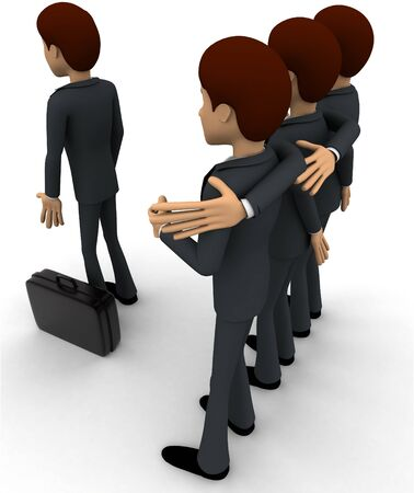 3d men team select person for work concept on white background, back angle view