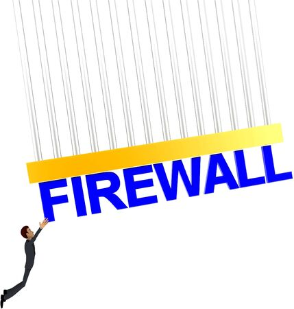 3d man about to grab FIREWALL text concept on white background - 3d rendering , front angle view