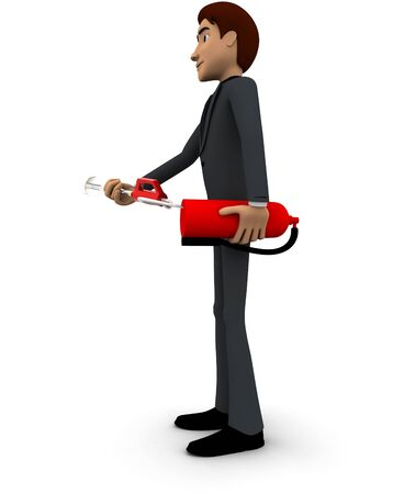 3d man with fire extinguish concept on white background, side  angle view