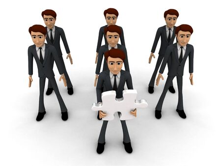 3d men in three line and one man holding puzzle piece with text here concept on white background, top angle view Фото со стока
