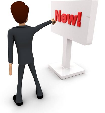 3d man pointing at new sign board concept on white background, back angle view