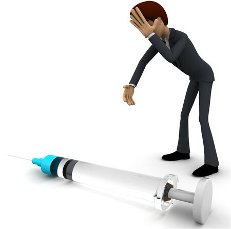 3d man looking worried while looking at injection concept on white background,  side angle view Imagens