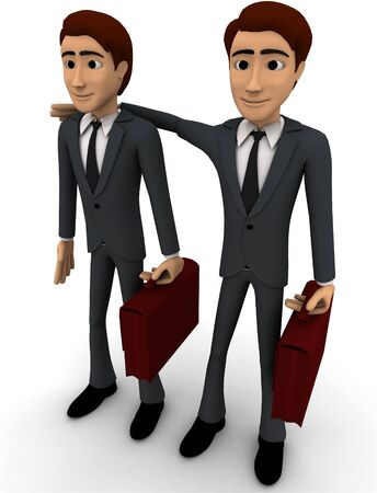 3d man with business partner concept on white background, le side angle view
