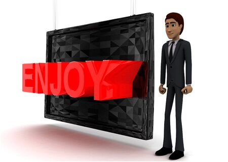 3d man standing near a screen and enjoy text displaying on it concept on white background - 3d rendering, side angle view