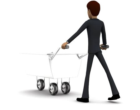 3d man pulling trolley containing traffic cone in hands concept in white isolated background , back angle view