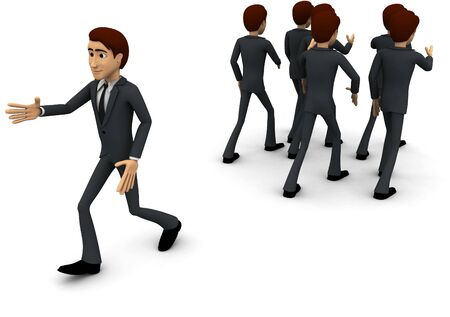 3d man going on own way concept on white background, back angle view Stockfoto