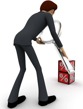 3d man examine red percentage cube magnifying glass concept on white background, back angle view Stockfoto