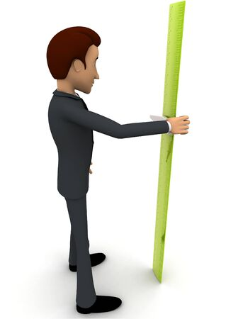 3d man with green measure tape to measure height concept on white background,  side angle view