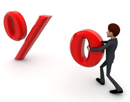 3d man carrying one dot of percentage symbol concept on white background, back angle view Stockfoto