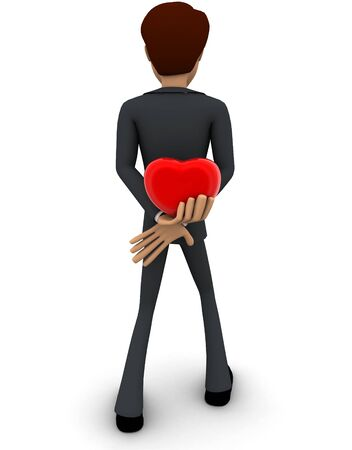 3d man hiding heart to give someone concept on white background, front angle view Stok Fotoğraf
