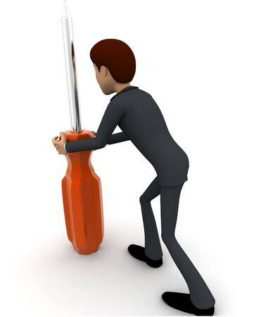3d man holding big screw driver concept on white backgorund,  back angle view Stockfoto