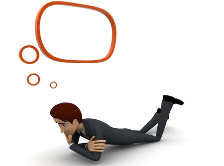 3d man lying and thinking with chat bubble concept on white background, side angle view