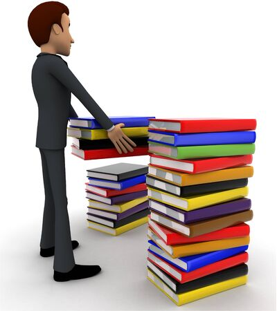 3d man with many books concept on white background, back angle view