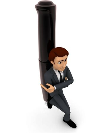 3d man leaning on pen concept on white background, top angle view Stockfoto