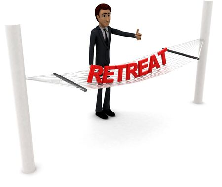 3d man standing waving hand and RETREAT text on weaver concept on white background - 3d rendering , side angle view