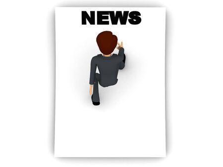 3d man reading news text on blank paper concept on white background, top angle view