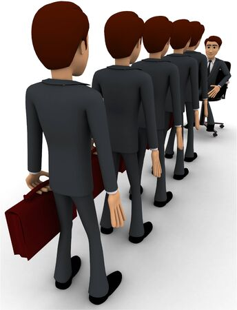 3d men going for interview in long queue concept on white background,  back angle view